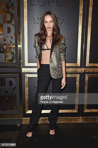 Lola Le Lann attends the Gold Obsession Party - L'Oreal Paris : Photocall as part of the Paris Fashion Week Womenswear Spring/Summer 2017 on October...