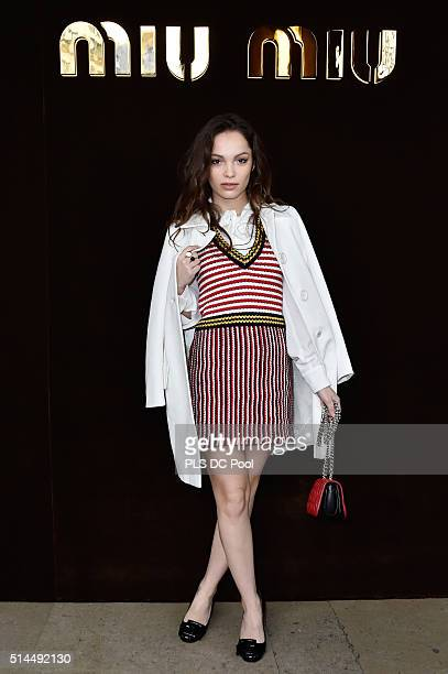 Lola Le Lann attends the Miu Miu show as part of the Paris Fashion Week Womenswear Fall / Winter 2016 on March 9, 2016 in Paris, France.
