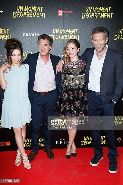Lola Le Lann, Francois Cluzet, Alice Isaaz and Vincent Cassel attend Un Moment D'Egarement Premiere at Gaumont Capucines on June 17, 2015 in Paris,...