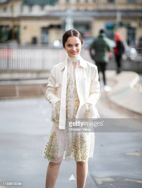 Lola Le Lann is seen outside Giambattista Valli during Paris Fashion Week Womenswear Fall/Winter 2019/2020 on March 04, 2019 in Paris, France.