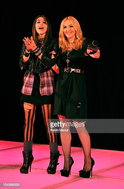 Lola Leon and Madonna attend the launch of Material Girl at Macy's Herald Square on September 22 2010 in New York City