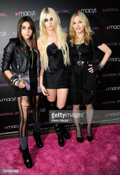 "Lola Leon, Taylor Momsen and Madonna attends the launch of ""Material Girl"" at Macy's Herald Square on September 22, 2010 in New York City."