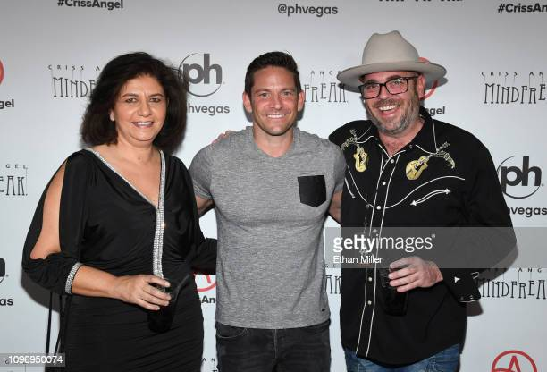 Lola Levermann singer Jeff Timmons of 98 Degrees and producer Peter Levermann attend the grand opening of 'Criss Angel MINDFREAK' at Planet Hollywood...