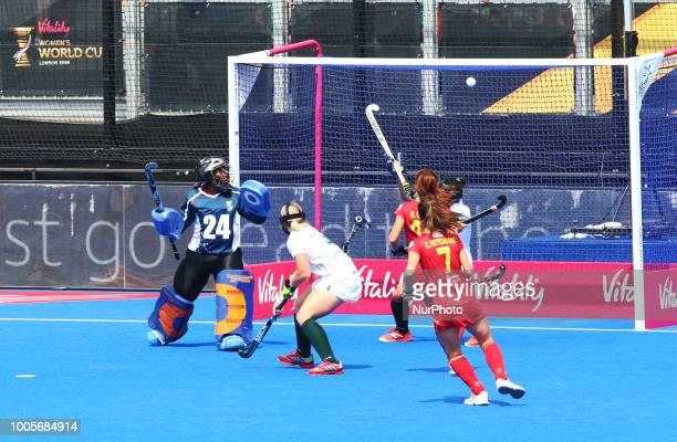 Lola of Spain scores during FIH Hockey Women's World Cup 2018 Day Five match Pool C game 13 between Spain and South Africa at Lee Valley Hockey amp...
