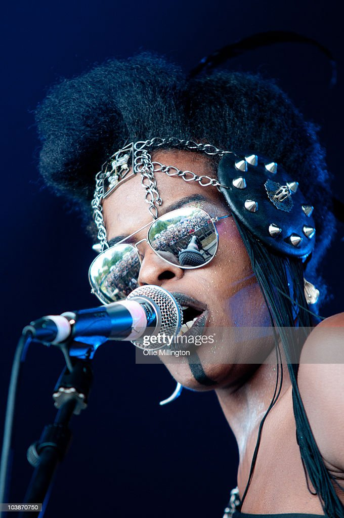 Lola Olafisoye of Chrome Hoof performs on stage during the second and last day of Offset Festival at Hainault Country Park on September 5, 2010 in Chigwell, England.