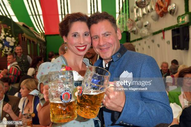 Actress Janina Hartwig Peter Mey and Nicola Tiggeler during the BMW Armbrustschiessen as part of the Oktoberfest 2018 at ArmbrustSchuetzenfesthalle...