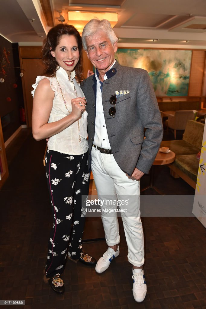 Lola Paltinger and Frederic Meisner attends the celebration of the first Weltmatratzenwendetag ( World Mattress Flipping Day ) at Hotel Louis on April 17, 2018 in Munich, Germany.