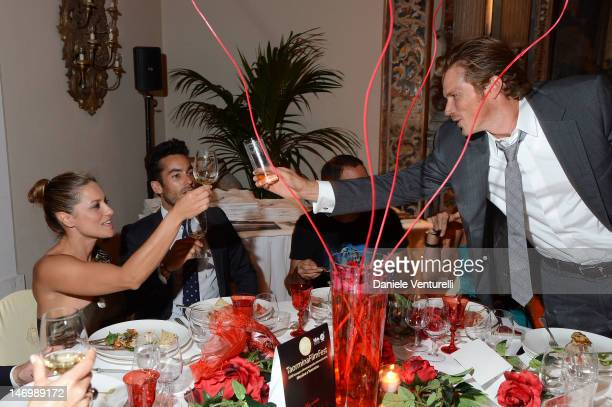 Lola Ponce Aaron Diaz and Jason Lewis attends the 'Haiti Charity Gala Event' during the 58th Taormina Film Fest at San Domenico Palace on June 24...
