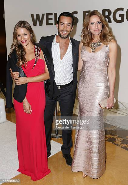Lola Ponce Aaron Diaz and Lili Estefan pose backstage at the 13th Annual St Jude Angels and Stars Gala on May 16 2015 in Miami Florida
