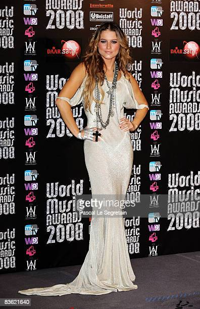 Lola Ponce poses in the pres room at the World Music Awards 2008 at the Monte Carlo Sporting Club on November 9, 2008 in Monte Carlo, Monaco.