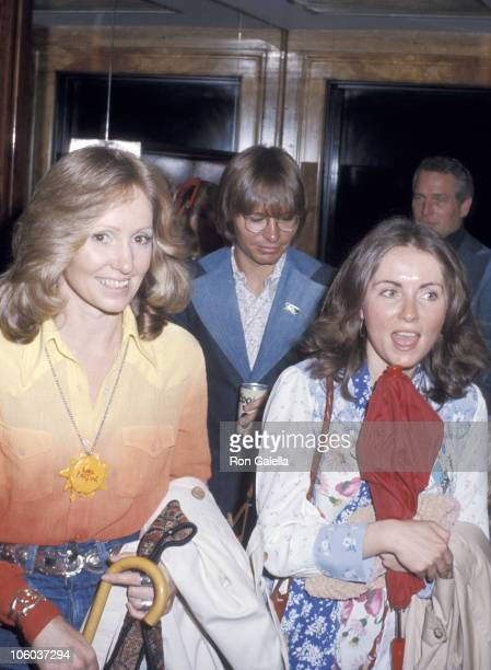 Lola Redford John Denver and guest during Robert Redford Leaving for Great Waldo Pepper Premiere March 12 1975 at Outside Robert Redford's Apartment...