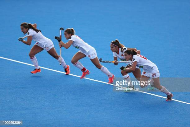 Lola Riera Maria Lopez Xantal Gine and Beatriz Perez of Spain sprint from the half way line during the Quarter Final game between Germany and Spain...