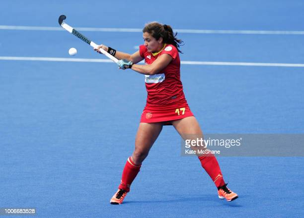 Lola Riera of Spain controls the ball during the FIH Womens Hockey World Cup Pool C game between Spain and Germany at Lee Valley Hockey and Tennis...