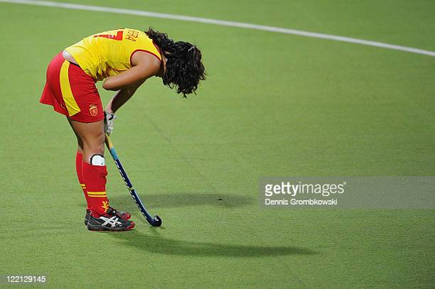 Lola Riera of Spain looks dejected during the Women's Eurohockey 2011 semi final match between Spain and Germany at Warsteiner HockeyPark on August...