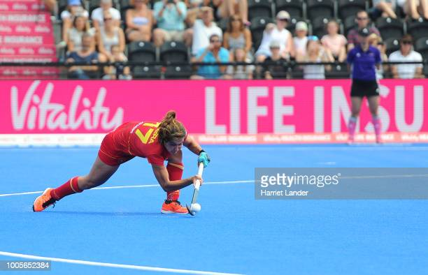 Lola Riera of Spain scores her team's sixth goal during the Group C game between Spain and South Africa of the FIH Womens Hockey World Cup at Lee...