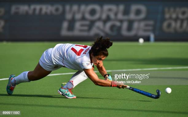 Lola Riera of Spain takes a shot during a penalty corner during the FINTRO Women's Hockey World League SemiFinal Pool B game between Spain and...