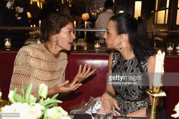 Lola Schnabel and Drea De Niro attend the CHANEL Tribeca Film Festival Artists Dinner at Balthazar on April 24 2017 in New York City
