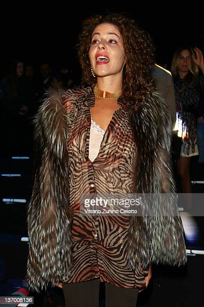 Lola Schnabel attends the Roberto Cavalli fashion show as part of Milan Fashion Week Menswear Autumn/Winter 2012 on January 14 2012 in Milan Italy