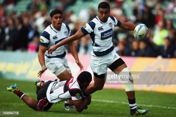 Lolagi Visinia of Auckland makes a break towards the line during the round 13 ITM Cup match between North Harbour and Auckland at North Harbour...