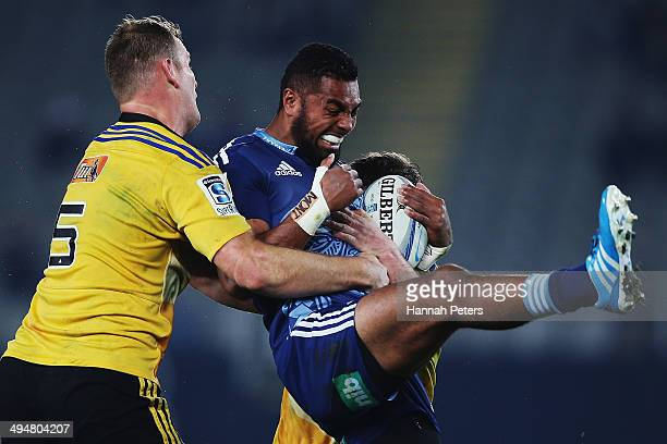 Lolagi Visinia of the Blues charges forward during the round 16 Super Rugby match between the Blues and the Hurricanes at Eden Park on May 31 2014 in...