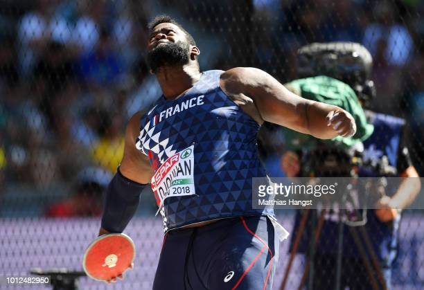 Lolassonn Djouhan of France competes in the Men's Discus qualification during day one of the 24th European Athletics Championships at Olympiastadion...