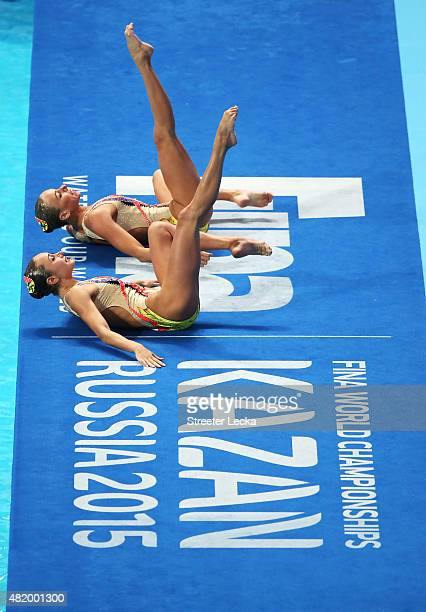 Lolita Ananasova and Anna Voloshyna of Ukraine compete in the Women's Duet Technical Preliminary Synchronised Swimming on day two of the 16th FINA...