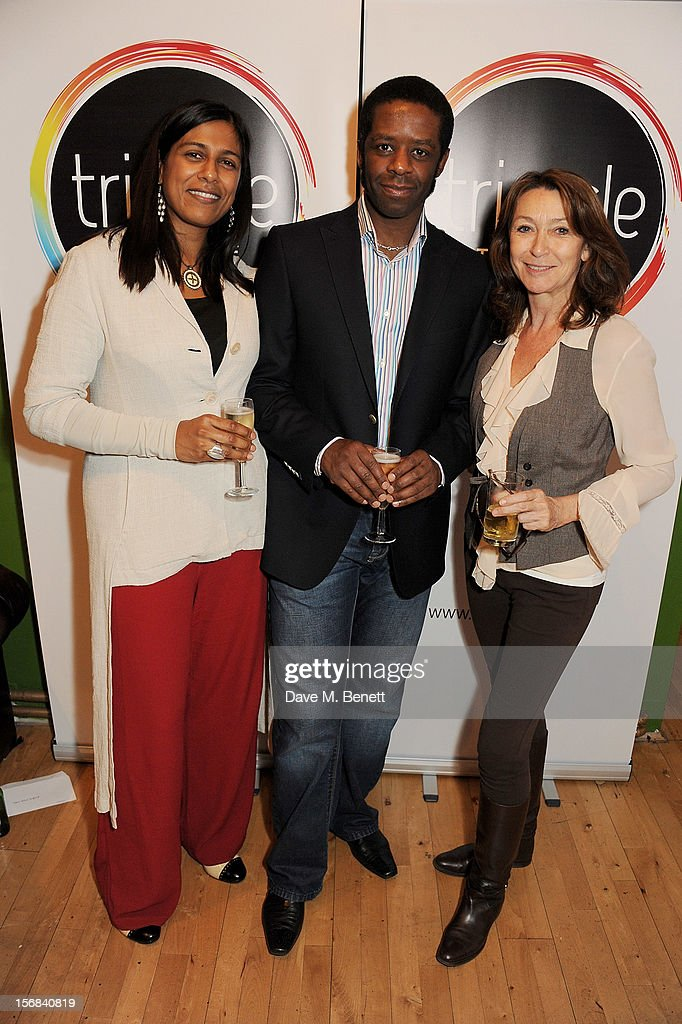 Lolita Chakrabarti, Adrian Lester and Cherie Lunghi attend Tricycle Theatre's 'Red Velvet: The Director's Party' on November 22, 2012 in London, England.