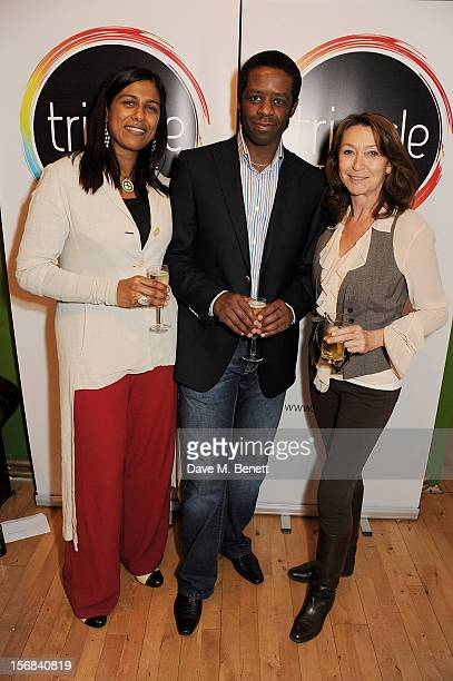 Lolita Chakrabarti Adrian Lester and Cherie Lunghi attend Tricycle Theatre's 'Red Velvet The Director's Party' on November 22 2012 in London England