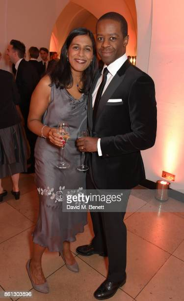Lolita Chakrabarti and Adrian Lester attend a cocktail reception at the 61st BFI London Film Festival Awards at Banqueting House on October 14 2017...
