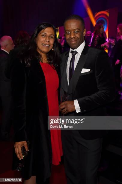 Lolita Chakrabarti and Adrian Lester attend the after party of the 65th Evening Standard Theatre Awards In Association With Michael Kors at London...