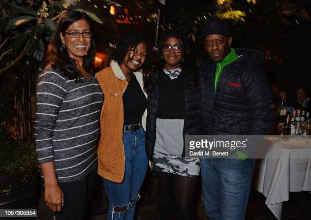 Lolita Chakrabarti Jasmine Lester Lila Lester Adrian Lester and Guest attend The Ivy Chelsea Garden's annual Guy Fawkes party on November 4 2018 in...