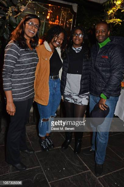 Lolita Chakrabarti Jasmine Lester Lila Lester and Adrian Lester attend The Ivy Chelsea Garden's annual Guy Fawkes party on November 4 2018 in London...