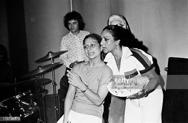 Lolita Flores daughter of Spanish singer and dancer Lola Flores with her mother the day of her 18th birthday 1976 Madrid Castilla La Mancha Spain