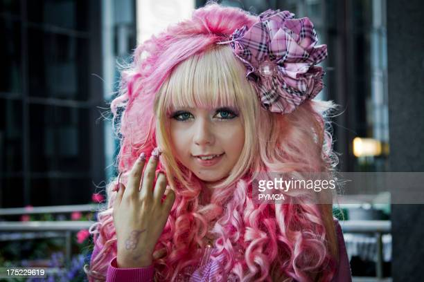 Lolita girl with pink hair and outfit Helsinki Finland 2010
