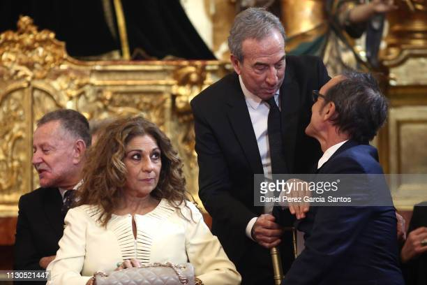 Lolita Jose Luis Perales and Alberto Iglesias attend the 'Bellas Artes' Golden Medal Awards at the Palace of Merced from King Felipe VI of Spain and...