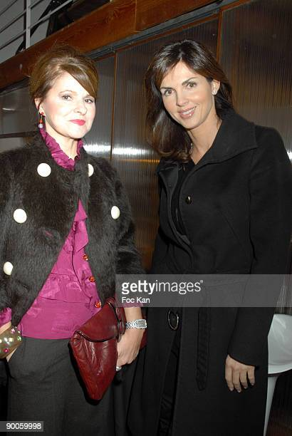 Lolita Lempicka and Caroline Barclay attend the Evolence Beauty Evolution Martin Schoeller Photo Exhibition Preview Party at the Espace Valmy on...