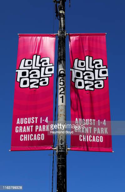 Lollapalooza banners hangs along South Columbus Drive in Chicago, Illinois on July 22, 2019.