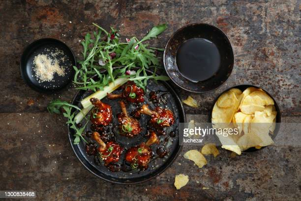 bbq lollipop chicken wings - midwest usa stock pictures, royalty-free photos & images