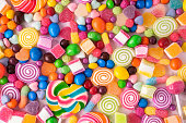 Lollipops candies and sweet sugar jelly multicolored