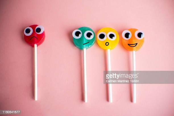 lollipops with cartoon eyes - anthropomorphic face stock pictures, royalty-free photos & images