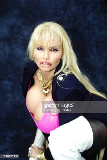 Lolo Ferrari poses during a portrait session in Paris, France on .