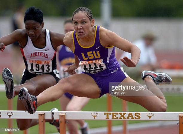 Lolo Jones of LSU wins women's 100meter hurdle heat in 1330 seconds in the 77th Clyde Littlefield Texas Relays at Mike A Myers Stadium on Friday...