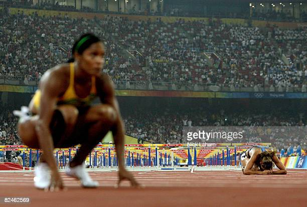 Lolo Jones of the United States looks dejected after the Women's 100m Hurdles Final held at the National Stadium on Day 11 of the Beijing 2008...