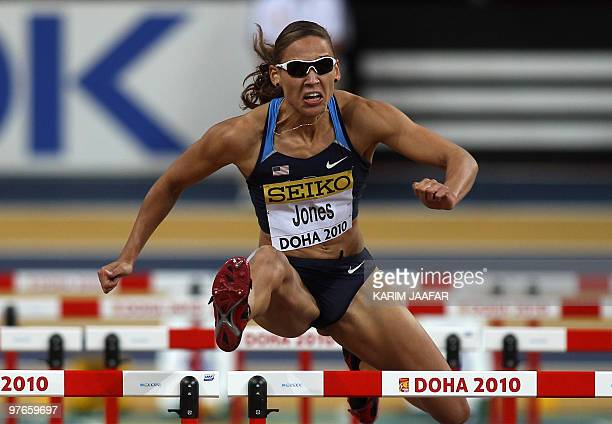 Lolo Jones of the US competes in the women's first round 60m hurdles at the 2010 IAAF World Indoor Athletics Championships at the Aspire Dome in the...
