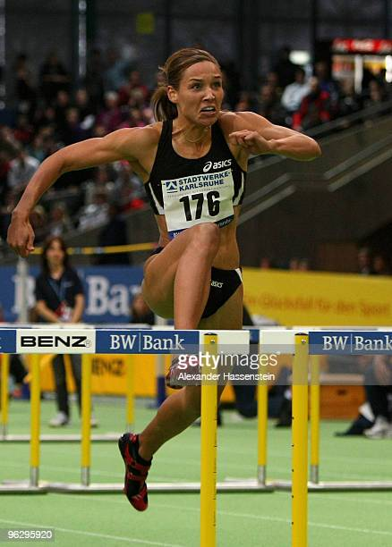 Lolo Jones of USA wins the woman 60 metres hurdles final during the 26th BWBankMeeting at the Europahalle on January 31 2010 in Karlsruhe Germany