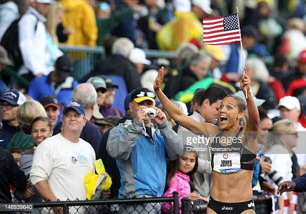 Lolo Jones reacts after qualifying for 2012 Olympics after coming in third in the women's 100 meter hurdles final during Day Two of the 2012 US...