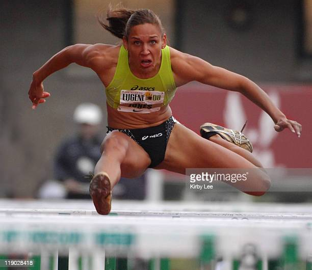 Lolo Jones won the women's 100meter hurdles in 1288 in the Road To Eugene '08 track field meet at the University of Oregon's Hayward Field in Eugene...