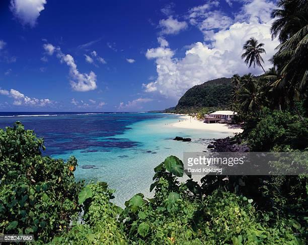 Lolomanu Beach on Upolu's Southeast coast; Upolu Island, Samoa