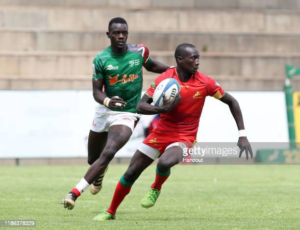 Lom Abdoul of Senegal challenged by Oscar Dennis of Kenya during the 2019 Rugby Africa Mens 7s match between Kenya and Senegal at the Bosman Stadium...
