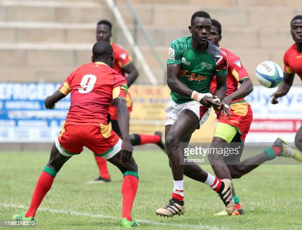 Lom Abdoul of Senegal tackles Andrew Amonde of Kenya during the 2019 Rugby Africa Mens 7s match between Kenya and Senegal at the Bosman Stadium...